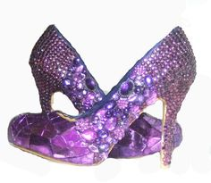 Cinderellas Ulitimate Purple Party Shoes... Broken glass, Swarovsky crystal and pearl covered high heels. everlastinglifashion