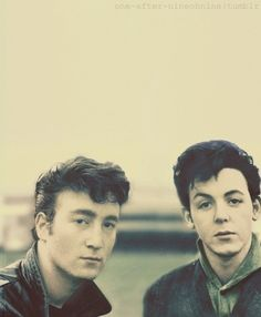 A young John Lennon and Paul McCartney of The Beatles, before Brian Epstein did away with their rock n roll quiffs!