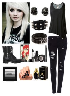 """Gothic/ Emo Girl OOTD"" by therealairiana ❤ liked on Polyvore featuring Incoco, Samsung, Bouchra Jarrar, Pull&Bear, L'Agence, Sergio Rossi and NARS Cosmetics"