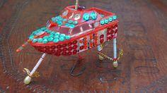 Vintage 70s Boat Christmas Ornament Folk Art by SycamoreVintage