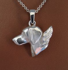 Sterling Silver Weimaraner Angel Pendant by BestK9buds on Etsy