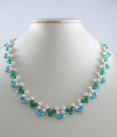 Necklace Woven Pearl and Swarovski Crystal ABx2 by IndulgedGirl