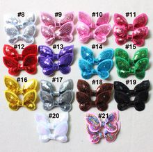 """100pcs/lot 2"""" neon sequin bows butterfly sequin bows for hair accessories baby hair bows 21colors all have stock(China (Mainland))"""