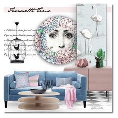 """""""Pink & Blue Fornasetti Time  .... 2017"""" by greta-martin ❤ liked on Polyvore featuring interior, interiors, interior design, home, home decor, interior decorating, Fornasetti, Cole & Son, Worldwide Lighting and Décor 140"""