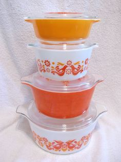 8 Pc Set Pyrex Friendship Casseroles and Lids Red Bird Orange #Pyrex #Pyrex: sold $135