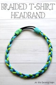 Tutorial: No-sew braided t-shirt headband Amy at As The Bunny Hops shows how you can make a braided t-shirt headband, no sewing required. She uses an old t-shirt and dyes the fabric different colors, but you could also use scraps of diffe… Fabric Crafts, Sewing Crafts, Sewing Projects, Upcycling Projects, Scrap Fabric, Sewing Tips, Sewing Tutorials, Diy Projects, T Shirt Yarn