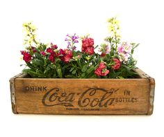 Vintage Coke Crate Rustic Wood Box Soda Pop by OceansideCastle, $46.99