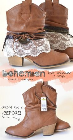 Bohemian Boot Makeover Tutorial #diy #tutorial #fashion #boho                          I'm so going to do this to my boots! Got the same pair.