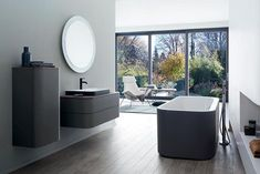 Happy Plus bathroom collection by Duravit Happy D, Duravit, Circular Mirror, Bathroom Goals, Bathroom Collections, Decorative Tile, Color Splash, New Homes, Cabinet