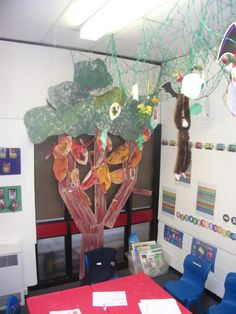 Jungle Corner Display, classroom displays, class display, jungle, animals, monkey, Amazon, trees, Early Years (EYFS), KS1& KS2 Primary Teaching Resources