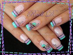 Two colored french by RadiD - Nail Art Gallery nailartgallery. by Nails Mag. Fancy Nails, Trendy Nails, Diy Nails, Cute Nails, Teal Nails, Red Manicure, Nail Polish Designs, Acrylic Nail Designs, Nail Art Designs