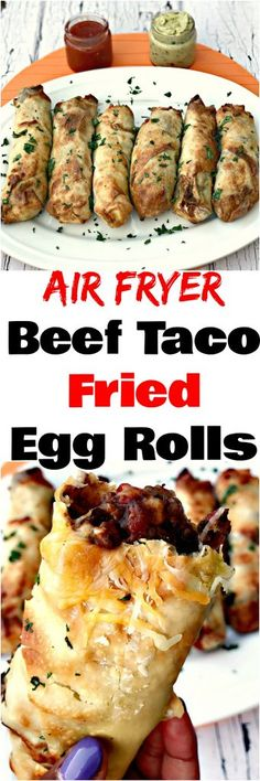 Air Fryer Beef Taco Fried Egg Rolls are a quick and easy, low-fat recipe loaded with lean, ground beef and cheese perfect for game days and Taco Tuesday. (easy healthy meals with hamburger) Air Frier Recipes, Air Fryer Oven Recipes, Air Fryer Recipes Hamburger, Taco Egg Rolls, Cooks Air Fryer, Actifry Recipes, Beste Burger, Air Fried Food, Easy Homemade Recipes