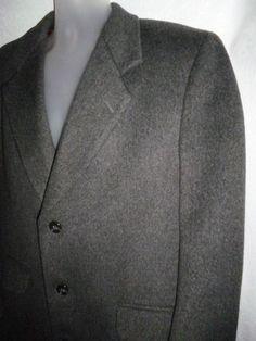 MOORES Vallombrosa Lanificio Wool Cashmere Gray Coat Trench Overcoat ITALY 44S #Moores #Overcoat