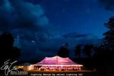 Lighting design for a sperry sailcloth tent featuring streaky cloud gobos in a sunset color palette. Lighting by Seitel Lighting LLC. Wedding Tent Lighting, Tent Wedding, Sunset Color Palette, Sunset Colors, August Events, Great Barrington, Stormy Night, Sailing Outfit, Window Wall