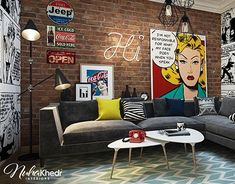 Bedroom Design With Pop Art Decoration For Woman Living Room Art, Living Room Interior, Interior Livingroom, Living Area, Pop Art Bedroom, Pop Art Decor, Pop Art Design, Design Desk, Floor Design