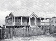 Description: Workers bungalow with L-shaped verandah, short ridge roof and flying gable over verandah entrance. Date: 1911 Ridge Roof, Queenslander House, Colorful Furniture, Front Porch, Entrance, Australia, Colours, Bungalows, Houses