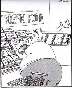 """The Far Side"" by Gary Larson. Must be a Walmart brand. Cartoon Jokes, Funny Cartoons, Funny Comics, Funny Jokes, That's Hilarious, Far Side Cartoons, Far Side Comics, Gary Larson Far Side, Gary Larson Cartoons"