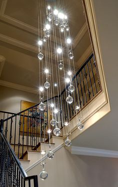 Fascinating Large Chandeliers For Foyer Foyer Lighting Low Ceiling Linear Light Beautiful Stair White Wall Painting Decorate Your Ceiling Using Foyer Chandeliers Interior estimate design ideas gas fireplace Bubble Chandelier, Foyer Chandelier, Chandelier Lighting, Chandelier Ideas, Unique Chandelier, Entryway Lighting, Bedroom Lighting, Stairway Lighting, Interior Design