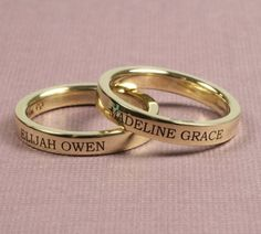 rings with names engraved on them   ... engraved with your names with the choice of five lettering styles