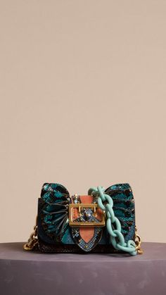 e2178b93498f Teal The Ruffle Buckle Bag in Snakeskin and Velvet 8 Buckle Bags