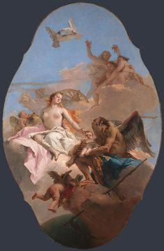 An Allegory with Venus and Time - Giovanni Battista Tiepolo. Oil on canvas. 292 x 190 cm. The National Gallery, London, UK. Thomas Gainsborough, Rococo Painting, Monochrome Painting, Female Body Art, National Gallery, The National, Greek And Roman Mythology, Baroque Art, Italian Painters