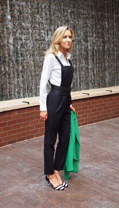 The Classy Cubicle: Office Overalls. The fashion blog for professional women in need of office style inspiration and work wear ideas for the corporate world and beyond. {asos, zara, catherine malandrino, brooks brothers, green blazer, jumpsuit, romper, black and white stripe pumps, gorjana stacked rings, cross necklace}