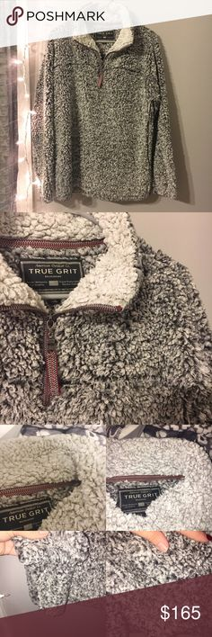 True Grit Pullover in Charcoal SOLD OUT EVERYWHERE True Grit Pullover in Charcoal. True grit is a men's brand so this is a MEN'S SMALL‼️ will fit a women's XS/S oversized & a women's M well. These are suppose to run big and be oversized!! This is in very good used condition. There is very slight madding on the sleeves and the neck collar. You can see the collage of photos for details, as you can tell BARELY NOTICEABLE. this is a sold out style and extremely hard to find. I'm trying to be…