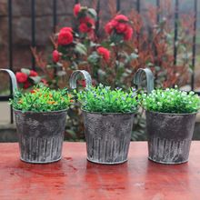 US $11.40 Vintage Retro removable tin bucket flower pot hanging basket pastoral style Wall flower pot tin bucket hanging flower pot. Aliexpress product