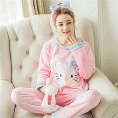 5c3508e18b Autumn and Winter Women Pyjamas Sets Thick Warm Coral Velvet Suit Flannel  Long Sleeve Female Cartoon Bear Animal Pants Sleepwear