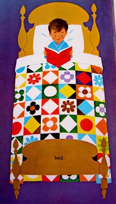 Bed - an illustration from WORDS (a Little Golden Book) by Joe Kaufman 1963