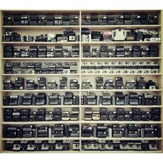 wall of Polaroids at the Impossible Project.  All things in multiples...works every time!