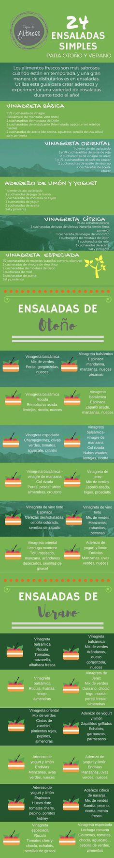 24 formas de preparar ensaladas tanto en invierno como en otoño.  #ensaladas #infografias #nutricion #nutricioninfografia