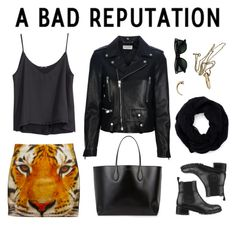 """""""Good Girls Go Bad"""" by liska-lis ❤ liked on Polyvore featuring H&M, Givenchy, Yves Saint Laurent, Chanel, Rochas, Ray-Ban, 2b bebe, StreetStyle, NYFW and black"""
