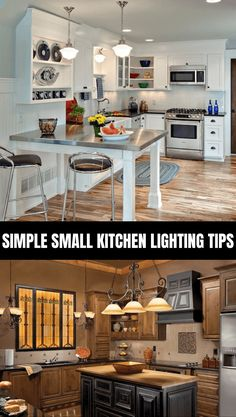 Aside from the aesthetic purpose, lighting plays important role in the kitchen. It would be the guide to see which way to move to stove area, the storage area, and so on. A kitchen without proper ligh Small Kitchen Lighting, Simple, Tips, Home Decor, Interior Design, Home Interior Design, Home Decoration, Decoration Home, Interior Decorating