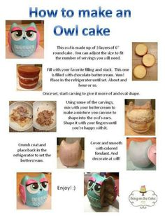 How to make an Owl Cake Tutorial Cake Decorating Techniques, Cake Decorating Tutorials, Cookie Decorating, Decorating Supplies, Baking Supplies, Cupcakes, Cupcake Cakes, Fruit Cakes, Smash Cakes