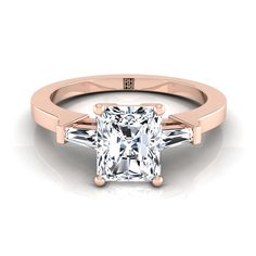 Diamond Engagement Ring With Radiant Cut Center And Tapered Baguette Side Stones In Yellow Gold Ct. Radiant Cut Engagement Rings, Baguette Engagement Ring, Rose Gold Engagement Ring, Buy Diamond Ring, Radiant Cut Diamond, Diamond Cuts, Princess Cut Rings, Princess Cut Diamonds, Real Gold Jewelry