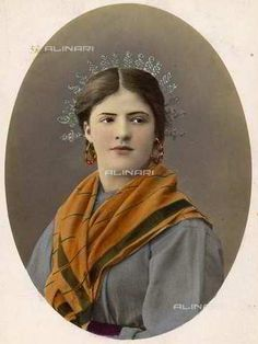 Young peasant woman in traditional clothes Lombard