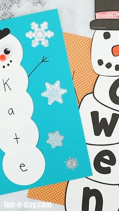 Name Snowman Preschool Craft - Mary Catherine @ Fun-A-Day! - - Name Snowman Preschool Craft This name snowman activity is perfect for your kindergarten or preschool snowman theme! Winter Crafts For Kids, Craft Projects For Kids, Winter Crafts For Preschoolers, Winter Preschool Crafts, Diy Projects, Daycare Crafts, Toddler Crafts, Preschooler Crafts, Preschool Art