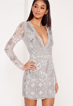 Cute bachelorette party dress. Long Sleeve Embellished Wrap Mini Dress in Silver and Grey