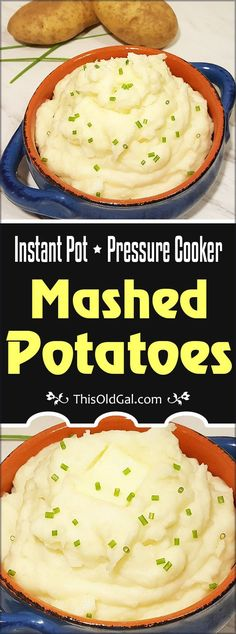 These smooth, fluffy, yet creamy Pressure Cooker Instant Pot Mashed Potatoes, are steamed to perfection and ready to eat in under 30 minutes. via @thisoldgalcooks