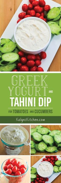 If you're looking for a healthier option for a holiday or Superbowl party, I promise this Greek Yogurt and Tahini Dip for Tomatoes and Cucumbers will disappear quickly. And this dip is low-carb, gluten-free, and South Beach Diet Phase One too.  [found on KalynsKitchen.com]