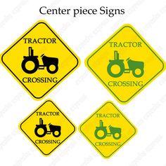 John Deere Inspired Printable Tractor Crossing Center Piece signs DIY green yellow