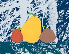 Pears on Texture Painting Print on Wrapped Canvas