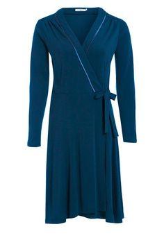 Outsider wrap dress merino wool in teal