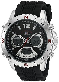 b701b8a44af U.S. Polo Assn. Sport Mens Quartz Metal and Rubber Casual Watch Color Black  (