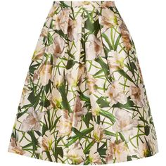 Oscar de la Renta Floral-print satin-twill skirt (15 050 UAH) ❤ liked on Polyvore featuring skirts, oscar de la renta, white, white floral skirt, colorful skirts, twill skirt, floral skirt and multicolor skirt