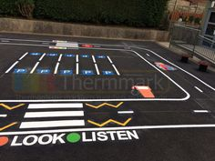 Road track playground marking with zebra crossings, parking bays and much more