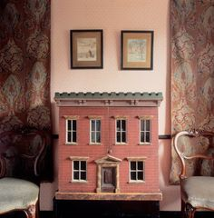 The doll's house in the Treasure Room at Beatrix Potter's Hill Top House, Near Sawrey, Cumbria, England, UK