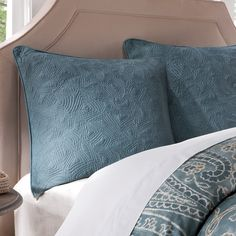 The Harbor House Belcourt Collection mixes teals and greens together for a colorful update to your bedroom. This cotton quilted euro sham provides a solid teal backdrop to your bedding set.
