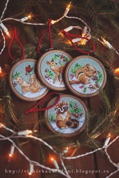 "Вышивка на ладони: Janlynn ""Woodland Creatures Ornaments"" и наша Ёлка..."